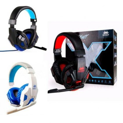 R$ 100 Headset Gamer Led Com Microfone Super Bass HD Knup
