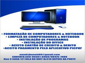 Formatação de computadores e notebook.