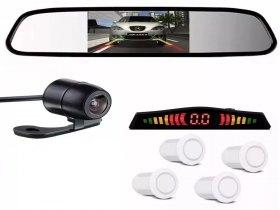 Kit Retrovisor LCD C/ Câmera + Sensor De Estacionamento Ré