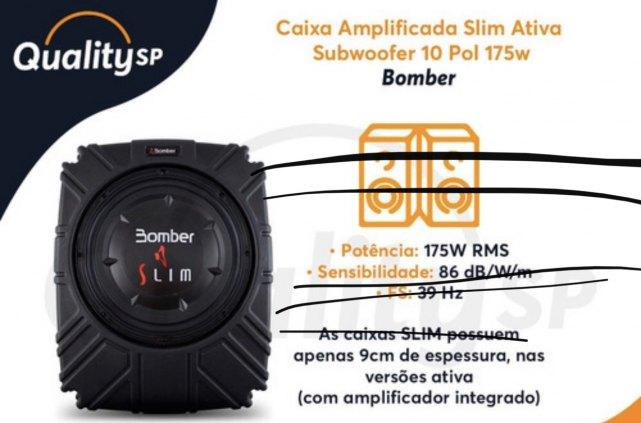 Caixa Amplificada Ativa Slim Subwoofer 10 Pol 4 Ohms