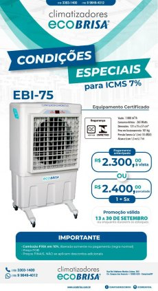 Eco Brisa Climatizadores EBI-75 Portatil