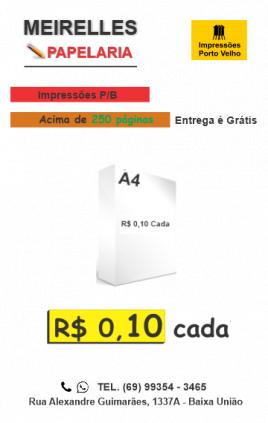 Impressão de papel A4 por R$ 0,10 dez centavos. Envie anexos ou visite