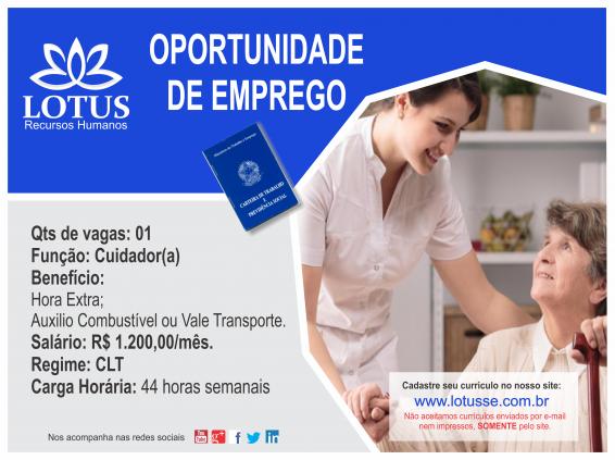 OPORTUNIDADE DE EMPREGO CUIDADOR(A)