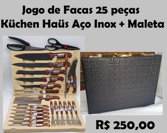 Jogo de Facas 25 peças Küchen Haüs Aço Inox + Maleta