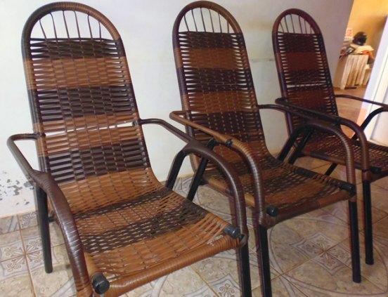 Cadeiras de  varanda toda em fibra sintética