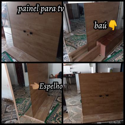 Painel de tv, baú e espelho