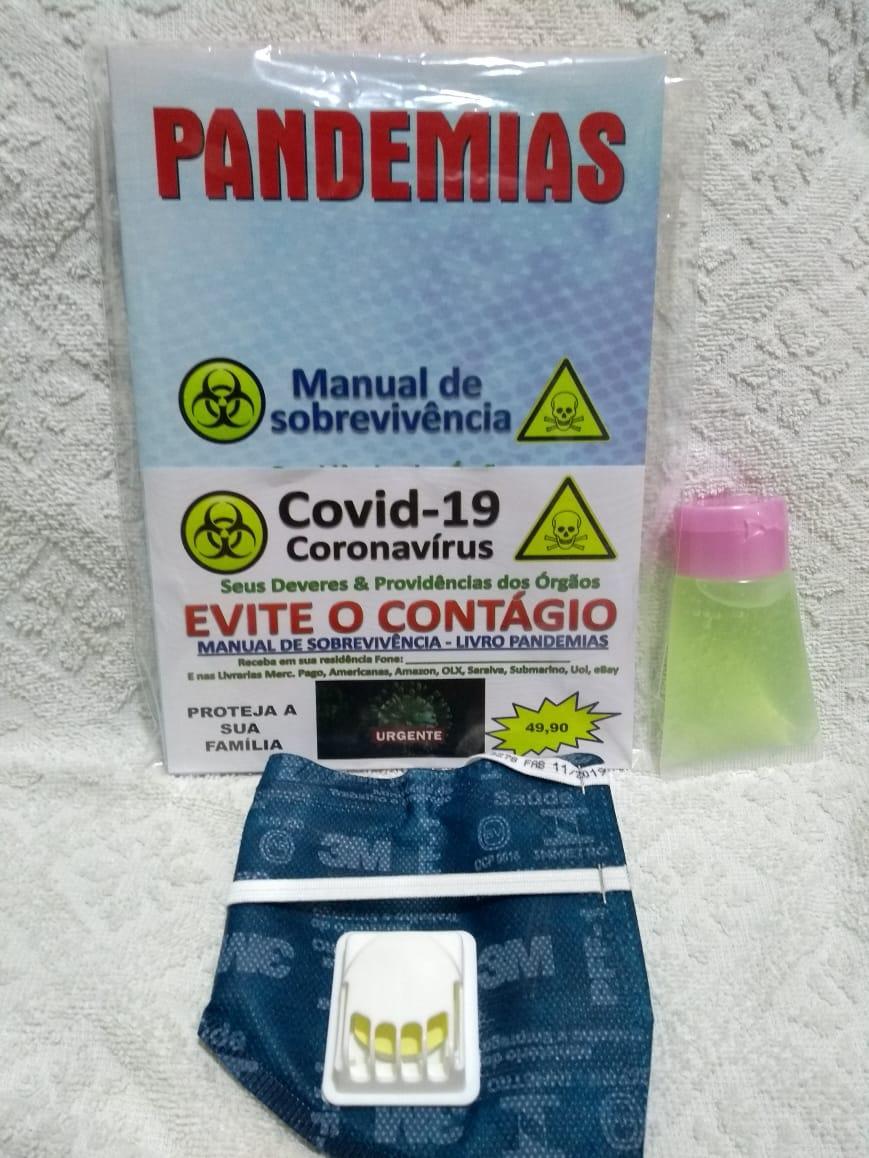 kit anti-covid-19/coronavírus com máscara, gel e manual de sobrevivência