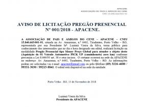 Aviso de Licitação Pregão Presencial  Nº 001/2018 - APACENE.