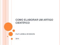 Caderno: Como Elaborar Um Artigo Científico.