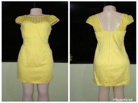 Vende-se vestido amarelo com renda.