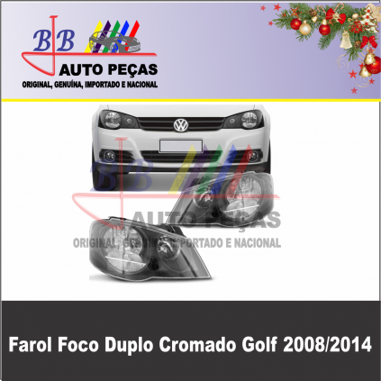 Farol Cromado Foco duplo Golf 2008/2014